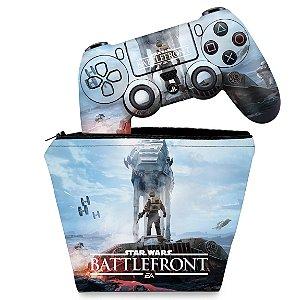 KIT Capa Case e Skin PS4 Controle  - Star Wars - Battlefront