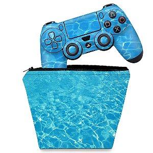 KIT Capa Case e Skin PS4 Controle  - Aquático Água