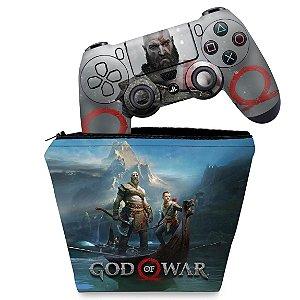 KIT Capa Case e Skin PS4 Controle  - God Of War #B