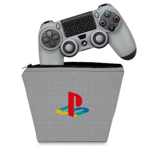 KIT Capa Case e Skin PS4 Controle  - Retrô Edition