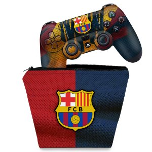 KIT Capa Case e Skin PS4 Controle  - Barcelona