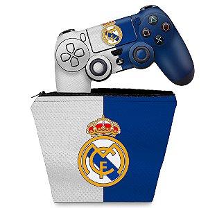 KIT Capa Case e Skin PS4 Controle  - Real Madrid