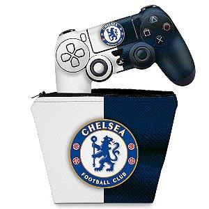 KIT Capa Case e Skin PS4 Controle  - Chelsea
