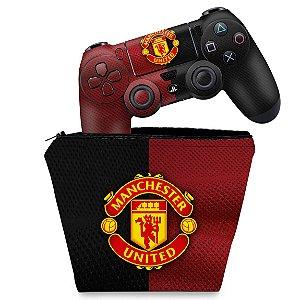 KIT Capa Case e Skin PS4 Controle  - Manchester United