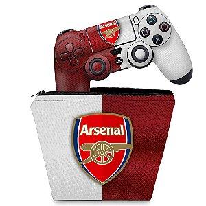 KIT Capa Case e Skin PS4 Controle  - Arsenal