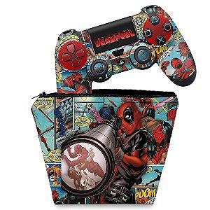 KIT Capa Case e Skin PS4 Controle  - Deadpool