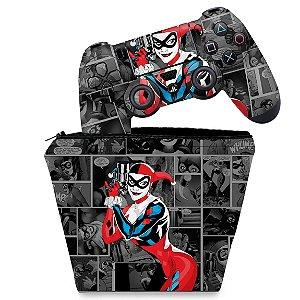 KIT Capa Case e Skin PS4 Controle  - Harley Quinn - Arlequina #A