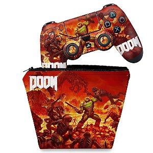 KIT Capa Case e Skin PS4 Controle  - Doom