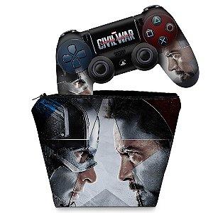 KIT Capa Case e Skin PS4 Controle  - Capitão America - Guerra Civil