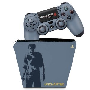 KIT Capa Case e Skin PS4 Controle  - Uncharted 4 Limited Edition