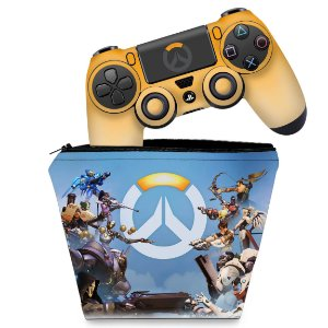 KIT Capa Case e Skin PS4 Controle  - Overwatch