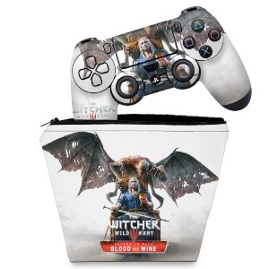 KIT Capa Case e Skin PS4 Controle  - The Witcher 3: Wild Hunt - Blood And Wine