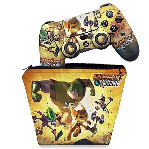 KIT Capa Case e Skin PS4 Controle  - Ratchet & Clank