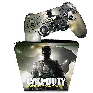 KIT Capa Case e Skin PS4 Controle  - Call Of Duty: Infinite Warfare