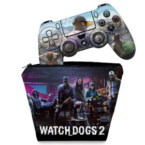KIT Capa Case e Skin PS4 Controle  - Watch Dogs 2
