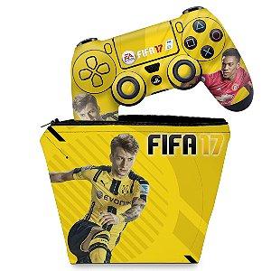 KIT Capa Case e Skin PS4 Controle  - Fifa 17