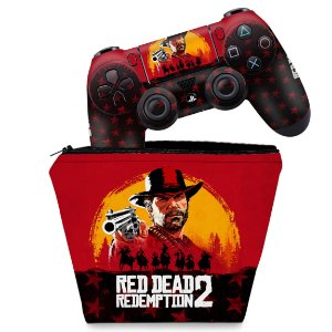 KIT Capa Case e Skin PS4 Controle  - Red Dead Redemption 2