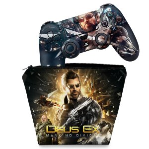 KIT Capa Case e Skin PS4 Controle  - Deus Ex: Mankind Divided