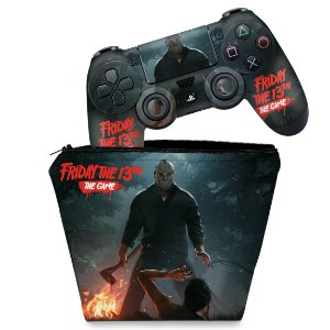 KIT Capa Case e Skin PS4 Controle  - Friday The 13Th The Game Sexta-Feira 13