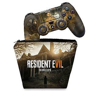 KIT Capa Case e Skin PS4 Controle  - Resident Evil 7: Biohazard