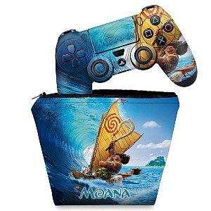 KIT Capa Case e Skin PS4 Controle  - Moana