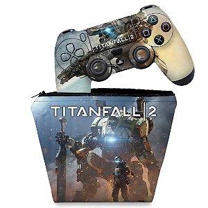 KIT Capa Case e Skin PS4 Controle  - Titanfall 2 #B
