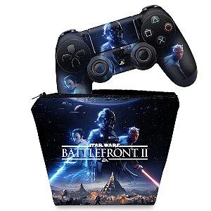 KIT Capa Case e Skin PS4 Controle  - Star Wars - Battlefront 2