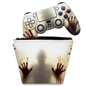 KIT Capa Case e Skin PS4 Controle  - Fear The Walking Dead