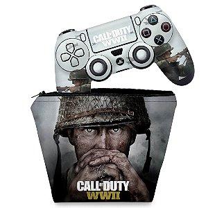 KIT Capa Case e Skin PS4 Controle  - Call Of Duty Ww2