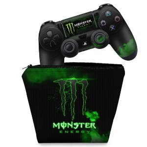 KIT Capa Case e Skin PS4 Controle  - Monster Energy Drink