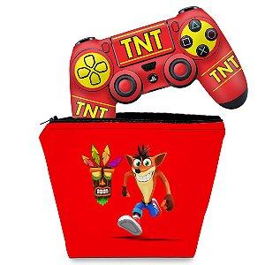 KIT Capa Case e Skin PS4 Controle  - Crash Bandicoot