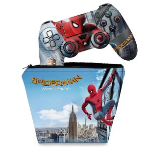 KIT Capa Case e Skin PS4 Controle  - Spiderman - Homem Aranha Homecoming