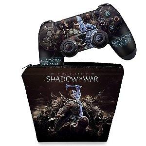 KIT Capa Case e Skin PS4 Controle  - Shadow Of War