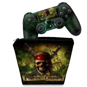 KIT Capa Case e Skin PS4 Controle  - Piratas Do Caribe