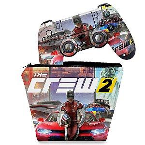 KIT Capa Case e Skin PS4 Controle  - The Crew 2