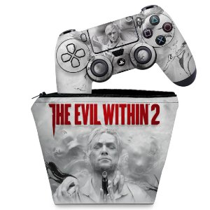 KIT Capa Case e Skin PS4 Controle  - The Evil Within 2