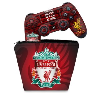 KIT Capa Case e Skin PS4 Controle  - Liverpool