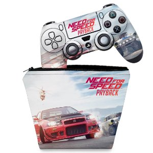 KIT Capa Case e Skin PS4 Controle  - Need For Speed Payback