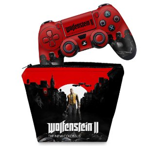KIT Capa Case e Skin PS4 Controle  - Wolfenstein 2 New Order