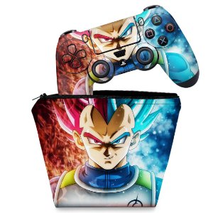 KIT Capa Case e Skin PS4 Controle  - Dragon Ball Super Vegeta Ssj God