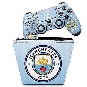 KIT Capa Case e Skin PS4 Controle  - Manchester City Fc