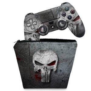 KIT Capa Case e Skin PS4 Controle  - The Punisher Justiceiro #B