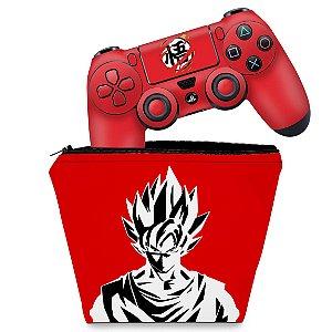 KIT Capa Case e Skin PS4 Controle  - Dragon Ball Goku Kaiô