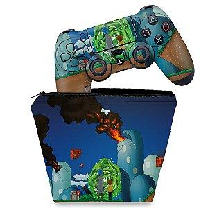KIT Capa Case e Skin PS4 Controle  - Rick And Morty Mario