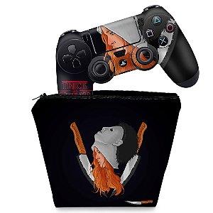 KIT Capa Case e Skin PS4 Controle  - Stranger Things Max