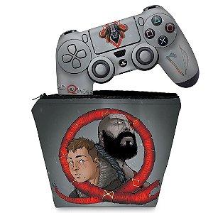 KIT Capa Case e Skin PS4 Controle  - God Of War 4