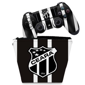 KIT Capa Case e Skin PS4 Controle  - Ceará Sporting Club