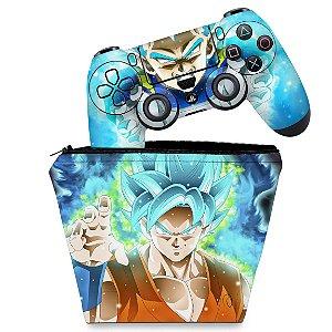 KIT Capa Case e Skin PS4 Controle  - Dragon Ball Super