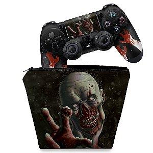 KIT Capa Case e Skin PS4 Controle  - Zombie Zumbi The Walking