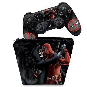KIT Capa Case e Skin PS4 Controle  - Deadpool 2